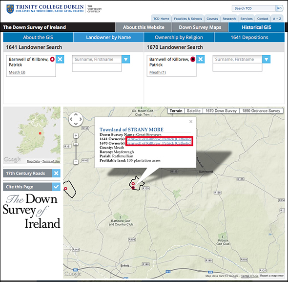 Landowner Search Infowindow Links